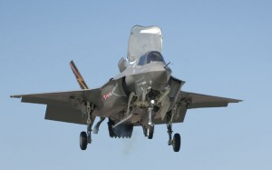 BF-1 perfoms the JSF's first vertical landing on March 18. (Damien Guarnieri/Lockheed Martin)