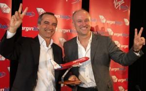 Incoming VB CEO John Borghetti with outgoing CEO Brett Godfrey. (Andrew McLaughlin)