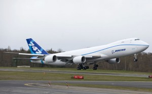 RC522 takes off on its March 14 first flight. (Boeing)