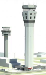A view from the west of Melbourne's existing (left) and soon to be built ATC towers. (Airservices)
