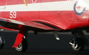 A RAAF PC-9 lost two landing gear doors during an April 14 flight.