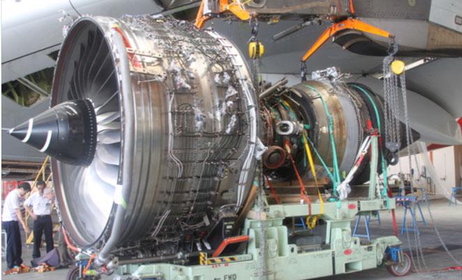 VH-OQA's removed number 2 engine. (ATSB)