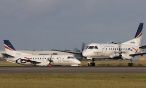 Rex operates 51 Saab 340 (foreground) and 340B+ (background0 regional airliners.(Seth Jaworski)