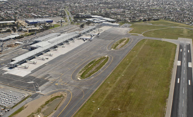 An aerial view of Adelaide Airport.