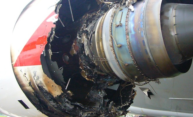 The aftermath of the uncontained engine failure aboard QF32 in November 2010. (ATSB)