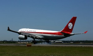 Sichuan Airlines A330-200 B-6535 touches down at Sydney Airport. (Rob Finlayson)