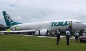 An image posted on Twitter of the damaged 737-300F at Honiara.