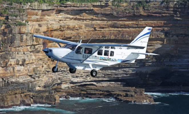 The 200th Airvan photographed off Sydney last year before embarking on its first regional tour.(Hawker Pacific)