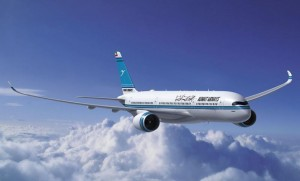 An artists' impression of an A350-900 in Kuwait Airways colours. (Airbus)