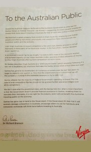 Sir Richard Branson penned an open letter to the Australian Govt in the Sunday papers on February 16.