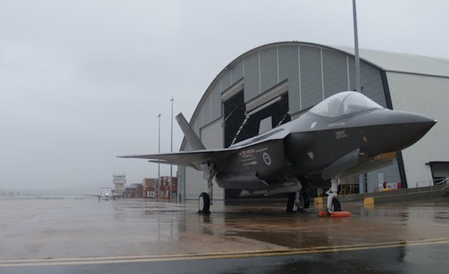 The F-35 on the hardstand at the Fairbairn Defence Establishment, Canberra Airport.