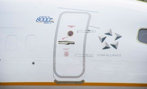 The small logo signifying the 8,000th 737. (Boeing)