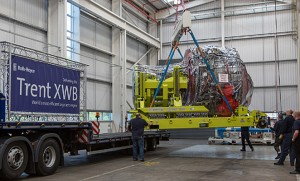 The first production Trent XWB is loaded for transportation to Toulouse. (Rolls-Royce)