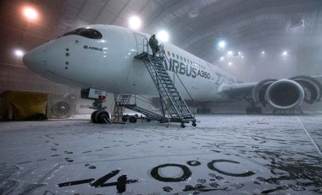 A350 MSN002 in the USAF's McKinley Climatic Laboratory in Florida. (Airbus)