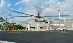 The CH-53K ground test vehicle conducts the first blades on test in late April. (Sikorsky)