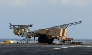 The RQ-21A uses the same catapult launcher and skyhook arrestor as the smaller ScanEagle UAS. (NAVAIR)
