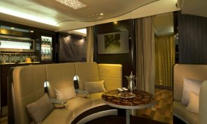 Etihad A380 First and Business passengers will have use of The Lobby common area. (Etihad)