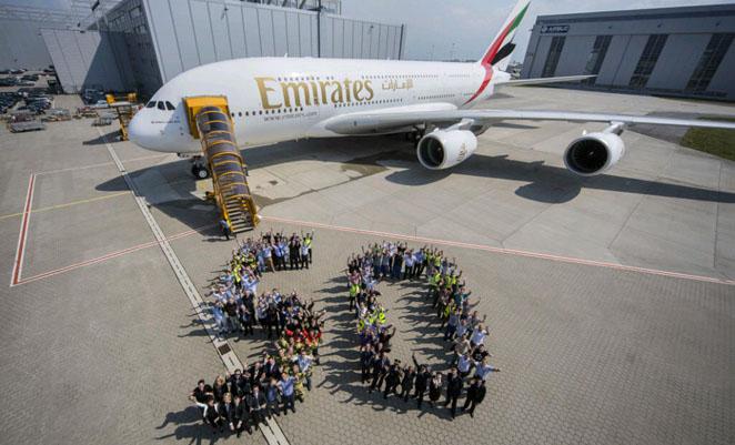 The 50th Emirates A380 at Hamburg. (Airbus)
