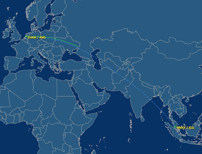 Image from flightaware.com showing MH17's flightpath over eastern Ukraine until contact was lost.