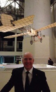 Owen Zupp in front of the original Bleriot XI monoplane used in the first airmail flight in 2014. (Owen Zupp)