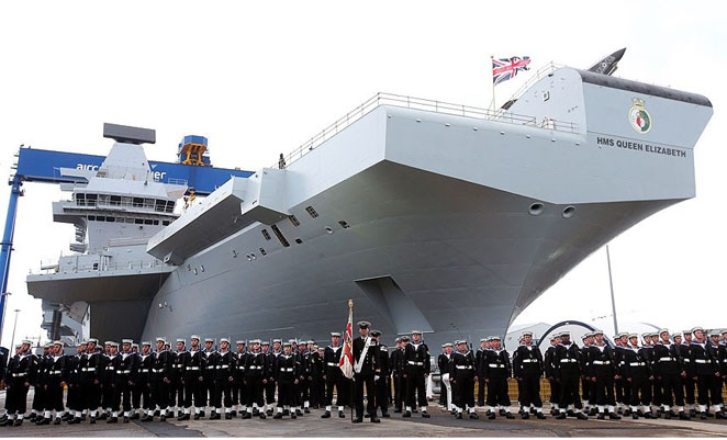 The Queen Elizabeth II at the naming ceremony in Scotland. (UK MoD Crown Copyright)