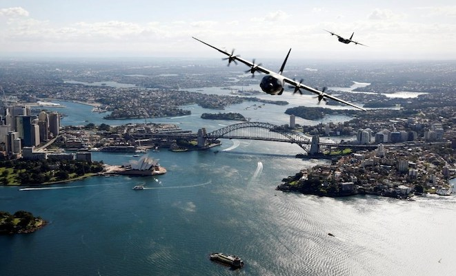 Two of the three C-130Js over Sydney Harbour last week. (Defence)