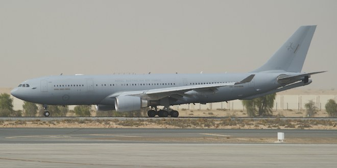 The KC-30 taxis in at Al Minhad.