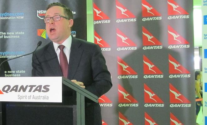 Qantas chief executive Alan Joyce speaks to the media at Sydney Airport.