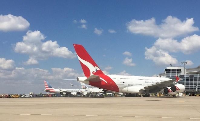 Qantas flight QF7 at Dallas/Fort Worth Airport (DFW Airport)