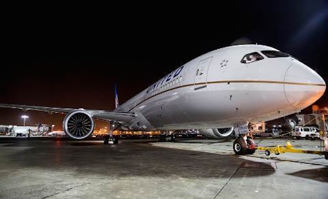 United's 787-9 at Los Angeles Airport prior to taking off to Melbourne on October 26. (Boeing)