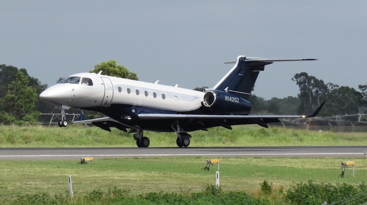 The first EMB-550 Legacy 500 delivered to Australia, registration N142GZ, landing at Rockhampton after a test flight on February 12 2015. (CQ Planespotting)