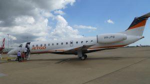 Passengers at Brisbane Airport board Jetgo's inaugural flight to Tamworth. (Jetgo)