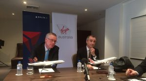 Delta Air Lines president Ed Bastien and Virgin Australia chief executive John Borghetti with reporters in Sydney. (Jordan Chong)