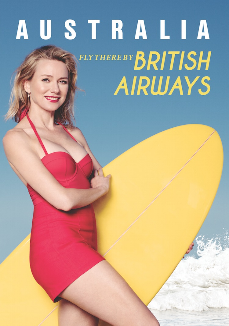 Naomi Watts recreates the BA poster from decades earlier. (Michael Buckner/Getty Images)