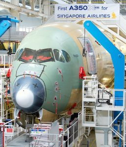 SIA's first A350-900 in final assembly. (Airbus)