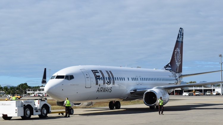 Fiji Airways's newest addition to its fleet, a Boeing 737-800 arrives at Nadi Airport. (Fiji Airways)