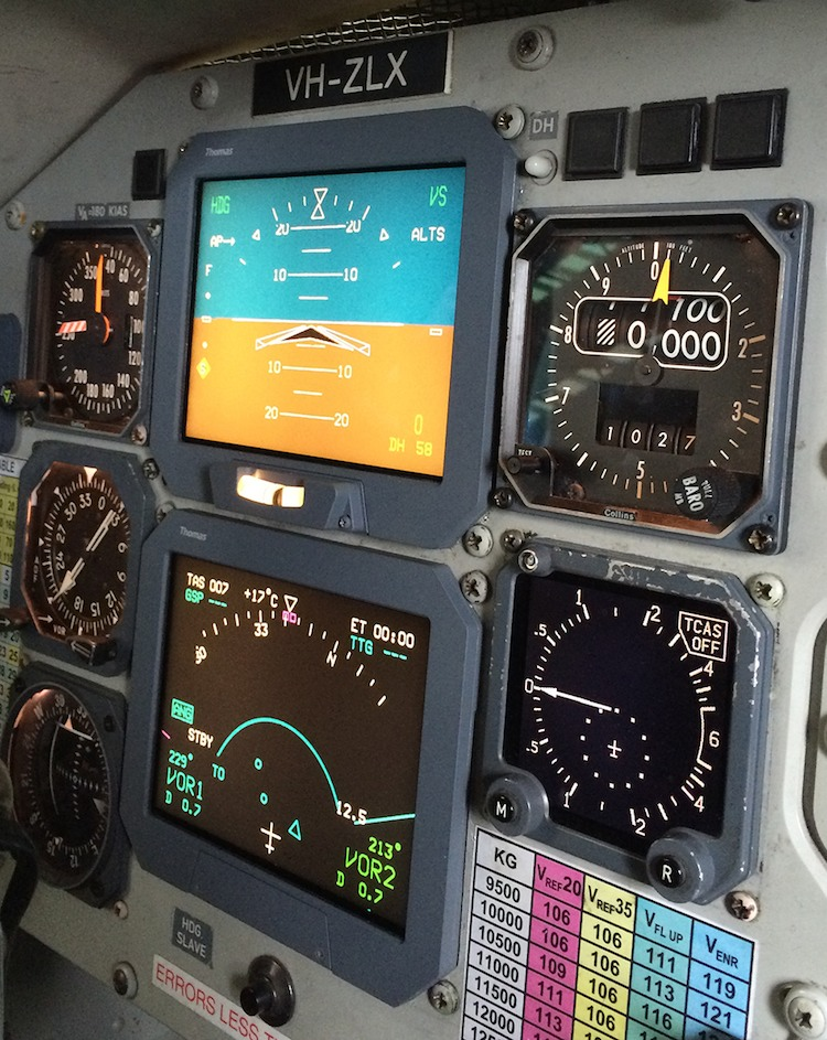 Thomas Global Systems' TFD-8601 LCD avionics display on board a Rex aircraft. (Rex)