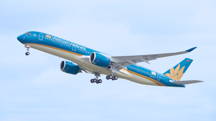 Vietnam Airlines' first A350 makes it maiden test flight at Tolouse. (Airbus)