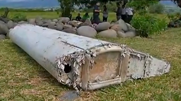 Aircraft debris washed up on the beach at Reunion Island. (French Television Outre-Mer 1ERE)