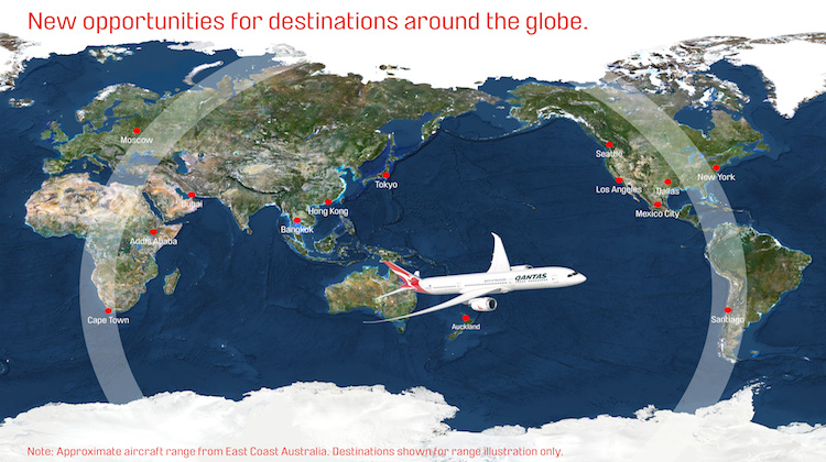 Potential destinations within the range of Qantas's Boeing 787-9. (Qantas)
