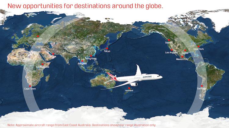 Potential destinations within the range of Qantas's Boeing 787-9. (Qantas)