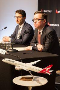 Qantas chief executive Alan Joyce presents the 2014/15 full year results. (Seth Jaworski)