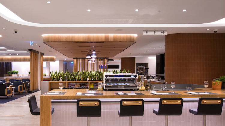 A supplied image of the new Qantas domestic business lounge in Perth. (Qantas)