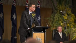 Air Chief Marshal Sir Angus Houston AK AFC (Retd), at the National Memorial Service for MH17 at Parliament House in Canberra on July 17 2015. (Defence).