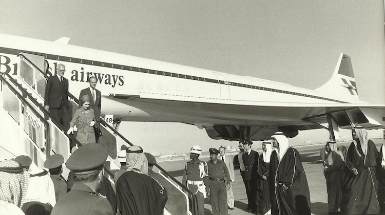A file image of Her Majesty The Queen arriving in Kuwait by Concorde in 1979