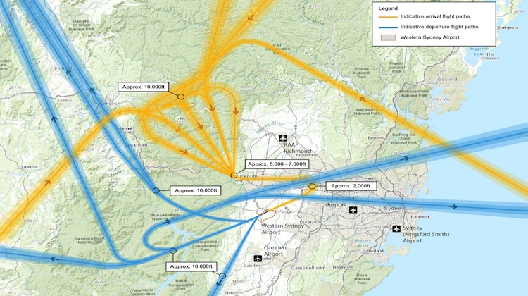 The indicative flight paths for departures and arrivals at Runway 05 at the proposed airport at Badgerys Creek. (Federal Government)