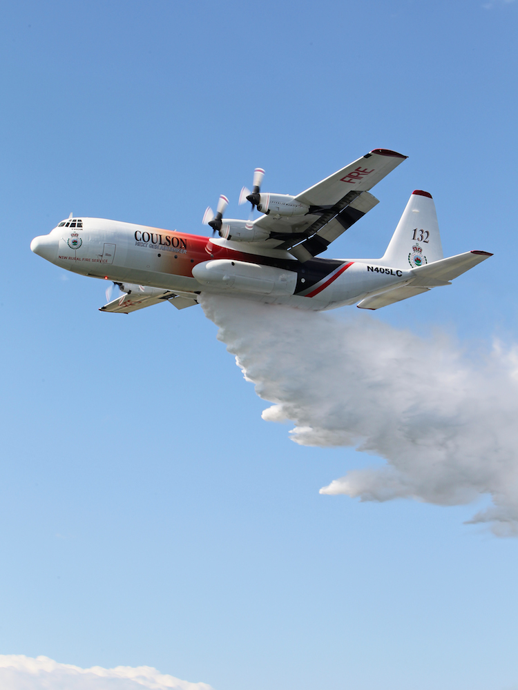 Lockheed L-100-30 Hercules large air tanker on contract to the NSW RFS. (Paul Sadler)