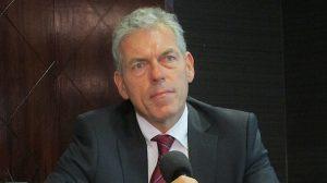 ATR head of global sales John Moore at a media briefing in Port Moresby with PNG Air. (Jordan Chong)