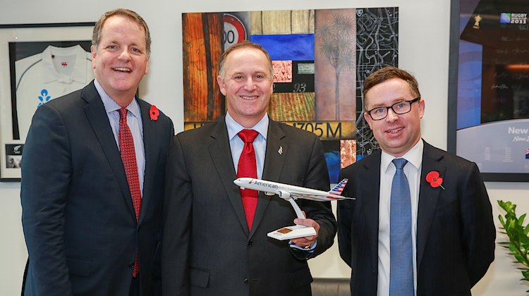 American chief executive Doug Parker, NZ Prime Minister John Key and Qantas chief executive Alan Joyce. (Qantas/American)