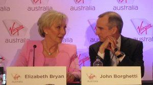 Virgin Australia chief executive john Borghetti and chairman Elizabeth Bryan at the company's annual general meeting in Brisbane. (Jordan Chong)